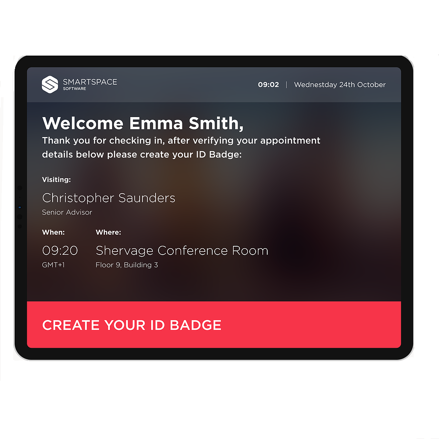 visitor management welcome screen