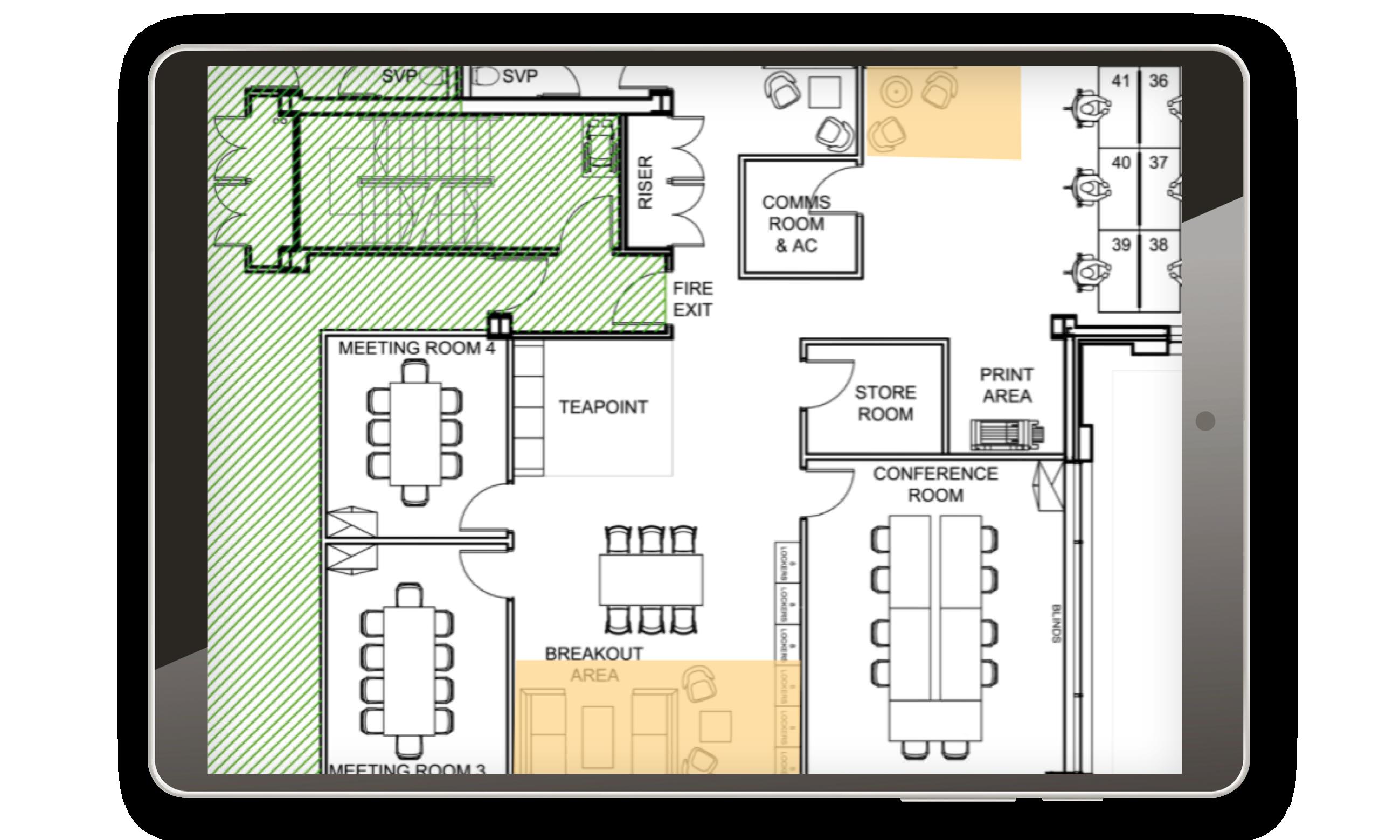meeting room booking map ipad